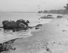23-27 September 1942 - In the Third Battle of Matanikau River, Guadalcanal, Japanese naval bombardment and landing forces nearly destroy Henderson field in an attempt to take it, but the land forces are soon driven back - Knocked out Japanese tanks at Matanikau river sandbar, Guadalcanal