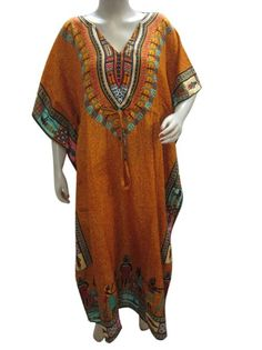 Amazon.com: Bohemian Kaftan Lounge Wear Trident Print Kimono Sleeves Caftan Patio Dress One Size: Clothing