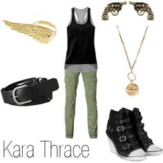 Kara Thrace, created by ja-vy on Polyvore <3 the ear rings