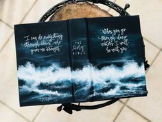 I WILL BE WITH YOU 💙 Who in your life is facing daunting circumstances or overwhelming trials, the kind that would tempt them to doubt… Bible Verse Painting, Bible Art, Painted Books, Hand Painted, Drawings For Boyfriend, Bibel Journal, Bible Doodling, Ocean Deep, Bible Covers