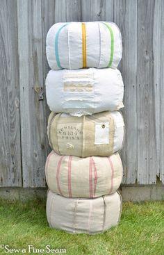 Tutorial from Sew a Fine Seam on making a pouffe pouf handmade bean bag ottoman