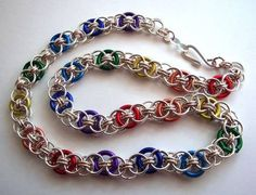 "Rainbow chainmaille.  I ADORE this!!!  I really, really, REALLY want one of these!!  18-20"" long, please :)"