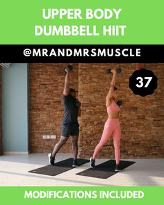 Hiit full body exercise with dumbbells. Add this fat burning HIIT exercise to your workout plan to burn fat and build muscle. Fitness Workouts, Upper Body Hiit Workouts, Hiit Workout Videos, Full Body Hiit Workout, Body Workout At Home, Dumbbell Workout, At Home Workouts, Workout Routines, Hiit Workout Plan
