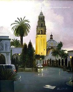 """Rainy Dusk in Balboa"", oil on canvas panel, 10""x8"", by Katarzyna Lappin. Me websitewww.katarzynalappin.com"