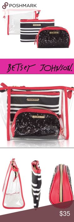 5374637c6319 💋Cosmetic bag set Keep your beauty essentials handy with this versatile  Betsey Johnson 3 Piece