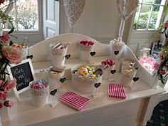 Pink and White Candy Cart Set Up
