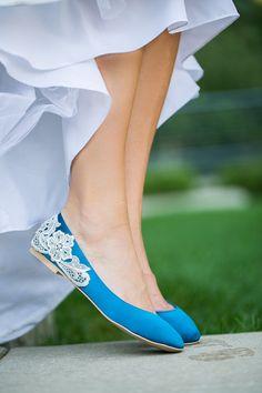 Wedding Shoes Teal Blue Bridal Ballet Flats/Teal by walkinonair