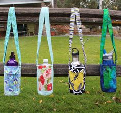 Walker's Water Bottle Sling Pattern by Whistlepig Creek Productions Water Bottle Carrier, Water Bottle Covers, Bottle Bag, Plastic Bag Holders, Bottle Holders, Crown Royal Bags, Duct Tape Crafts, Table Runner Pattern, Insulated Water Bottle