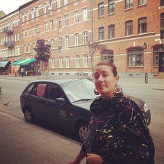 My friend Stella on my old street in Malmö