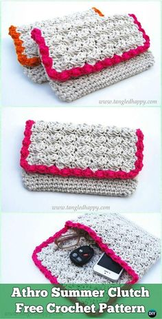 Crochet Athro Summer Clutch Free Pattern - Crochet Clutch Bag & Purse Free Pattern