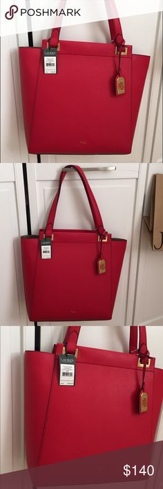 ❤️️ Ralph Lauren Tote ❤️️ BNWT Ralph Lauren leather tote. Beautiful shade of red. Ralph Lauren Bags Totes