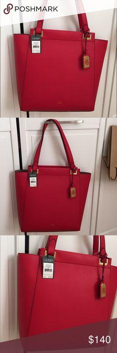 ❤️️ Ralph Lauren Tote ❤️️ BNWT Ralph Lauren leather tote. Beautiful shade of red. Ralph Lauren Bags Totes