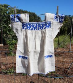 Mexican Girls Dress- Embroidered by Hand-Blue-100% cotton