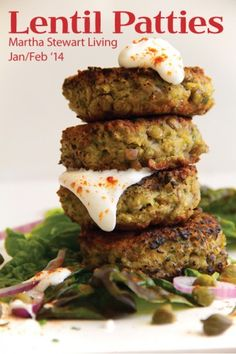 Green Lentil Patties made with egg, breadcrumbs, parsley, yogurt, capers, red onion