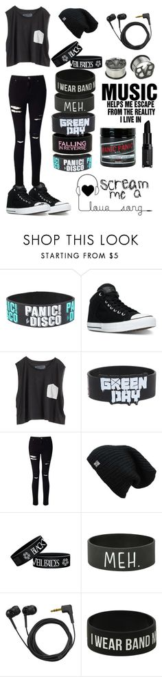 """""""Music is Life"""" by scene-bean ❤ liked on Polyvore featuring Hot Topic, Converse, Blondes Make Better T-Shirts, Miss Selfridge, Sennheiser, Manic Panic NYC and e.l.f."""