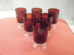 """6 ARCOROC Ruby Red Crystal 4"""" Footed Wine Cordial Juice Glass Tumbler Set France #Arcoroc"""