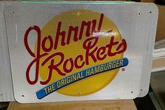 Johnny Rockets reflective metal sign