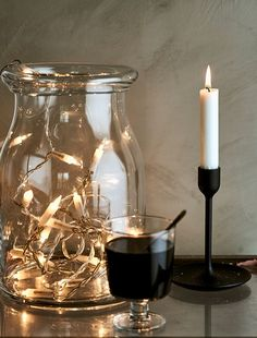 Wind a chain of lights into an oversized glass vase like the IKEA BEGÄRLIG to create a twinkly party atmosphere.