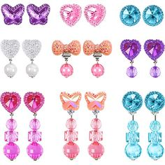Hicarer 9 Pairs Girls Clip-on Earrings Pretend Princess Play Earrings Jewelry Set (Style Fabric Flower Headbands, Fabric Flowers, Girls Earrings, Clip On Earrings, Frozen Birthday Dress, American Girl Doll Movies, Makeup Kit For Kids, Princess Toddler Bed, Unicorn Nails Designs