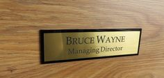 Executive Personalised Door Name, Custom Engraved Sign, Name Plaque, Office