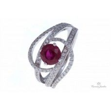 18k White Gold Diamond And Ruby Cocktail Ring