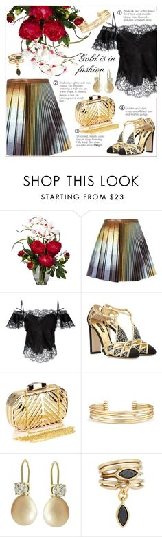 """Gold is in fashion"" by pavicmartina ❤ liked on Polyvore featuring Nearly Natural, Marco de Vincenzo, Givenchy, Dolce&Gabbana, Chicnova Fashion, Stella & Dot and Eddie Borgo"