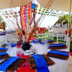 Blue Red White traditional Swazi decor at Shonga Events Traditional Wedding Decor, Traditional Cakes, Tent Decorations, Wedding Decorations, Wedding Ideas, African Wedding Theme, African Weddings, African Cake, African Wear
