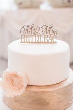 Bronze and White Wedding Cake | Matt Scorte Photography | Belvedere Banquets Wedding via StyleUnveiled.com