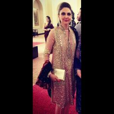 Spotted in a delicate heavily worked Shehla Chatoor tea pink ensemble set off beautifully with a black dupatta
