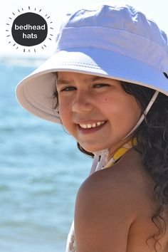 a0105125fdf UPF kids bucket sun hat with chin strap in white. Bedhead Hats ...