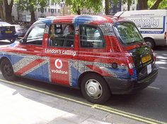 Vodaphone's London's Calling taxi ads. The union jack is made up of loads of street names and monuments found in London. So cool!