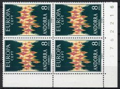 Europe 1972, corner margin block of four lower left, in perfect condition mint never hinged, horizontal prefolded, outstanding quality. Michel Euros 520,-- +    Dealer  Veuskens Auctions    Auction  Minimum Bid:  80.00EUR