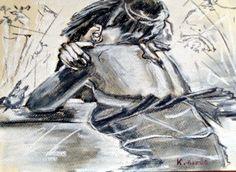 Ábrándozás.  Szén, kréta, , pasztell papír, Statue, Fictional Characters, Art, Art Background, Kunst, Performing Arts, Fantasy Characters, Sculptures, Sculpture