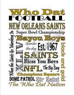 Hey, I found this really awesome Etsy listing at… New Orleans Saints Shirts, New Orleans Saints Football, Louisiana Art, New Orleans Louisiana, Black And Gold Bathroom, Silhouette Sign, Barn Wood Signs, Who Dat, Cheer Mom