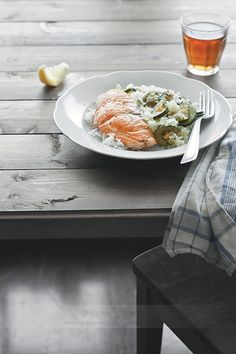 Salmon 'n Rice / this is not a recipe, but I like the idea of serving rice and zucchini pilaf with fish #food