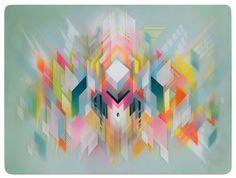 L'artiste italien, Francesco Locastro basé en Floride, crée des peintures colorées, très graphiques de toute beauté. Partant sur une base de bois, il travaille à l'aide d'une méthode de couches de matières utilisant spray, résine époxy, acrylique et parfois même de la dorure jusqu'à ce qu'il atteigne une quasi 3D avec un effet de flottement intéressant.