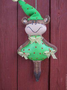 Ароматизированные куклы ручной работы. Ярмарка Мастеров - ручная работа. Купить Обезьянка (А я сегодня елочка)). Handmade. Ярко-зеленый