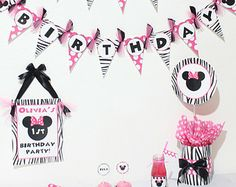 Minnie Mouse in Hot Pink & Zebra -  Printable Party Package