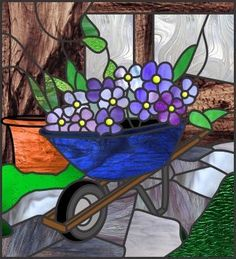 wheelbarrow, flowers, pot, path stained glass pattern #StainedGlassMandala