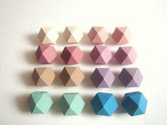 Ash Pastel Geometric Wood BeadsHand Painted wood by Laser Cut Wood, Geometric Jewelry, Painting On Wood, Hand Painted, Painted Wood, Craft Supplies, Etsy, Beads, Handmade