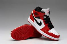 huge selection of 0611c d3fdd 2014 New Nike Air Jordan I 1 Retro Womens Shoes On Sale White Red Air  Jordans