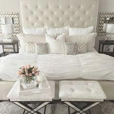The master bedroom is one of your home's most personal spaces. It's the room in which you rewind and recharge. Master bedroom should be the relaxing space where you can go to escape the rest of life's never ending pressures. Master Bedroom Design, Home Decor Bedroom, Bedroom Furniture, Bedroom Designs, Cozy Furniture, Glam Bedroom, Stylish Bedroom, Furniture Design, Modern Bedroom