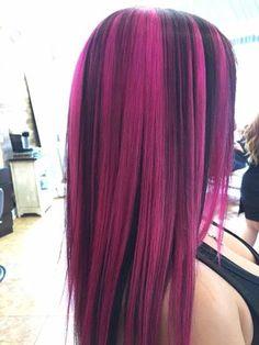 Pink Streak In Black Hair Coloring - Hot Pink And Black Hair Hair Color Streaks, Hair Dye Colors, Cool Hair Color, Hair Highlights, Black Hair Pink Highlights, Pink And Black Hair, Hot Pink Hair, Green Hair, Cabello Color Magenta