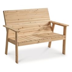 CASTLECREEK Natural Wood Bench #woodbench #woodenbench #affiliate #rvliving #patiobench Outdoor Chairs, Outdoor Furniture, Outdoor Decor, Teepee Tent, Camping Chairs, I Cool, Rv Living, Planter Boxes, Galvanized Steel