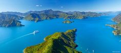 Into the blue: a cruise ship on Marlborough Sounds As we set off from Christchurch International Airport in a rusty orange Mahindra, a. New Zealand Tours, Visit New Zealand, Marlborough Sounds, New Zealand South Island, Australia, Adventure Tours, Adventure Travel, Day Tours, Auckland