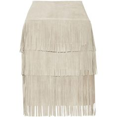 Illia Fringed suede and stretch-modal skirt ($289) ❤ liked on Polyvore featuring skirts, bottoms, юбки, saias, white, grey, suede leather skirt, white fringe skirt, suede skirt and gray skirt