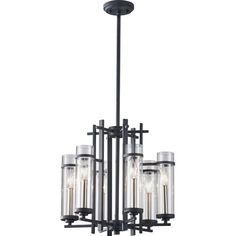 Ethan Antique Forged Iron/Brushed Steel Six-Light Chandelier
