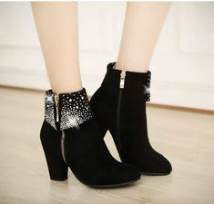 Women new fashion spring autumn scrub high thick heels boots side zipper solid color shoes large plus size Ankle Shoes, Lace Up Ankle Boots, Toe Shoes, Thick Heel Boots, Heeled Boots, Thick Heels, Discount Boots, Short Boots, Fashion Boots