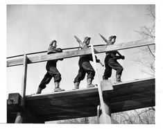 Women Lumberjacks on Log Chute at Turkey Pond, New Hampshire, 11/10/1942 National Archives Identifier: 6883306