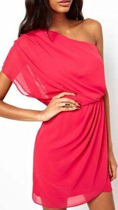 Rose Elastic Waist Chiffon One Shoulder Dress